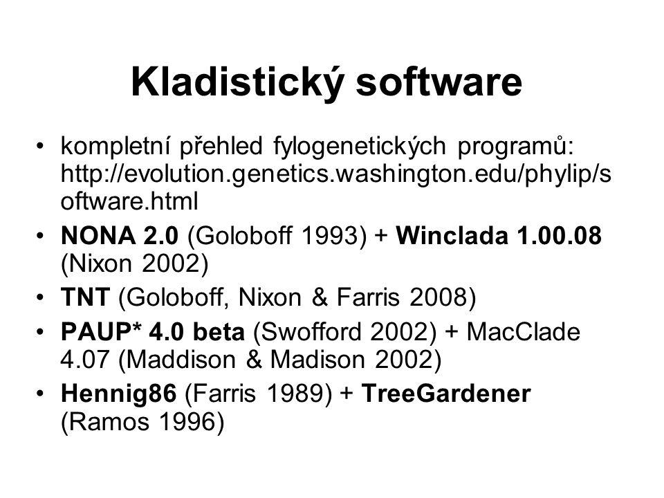 Kladistický software kompletní přehled fylogenetických programů: http://evolution.genetics.washington.edu/phylip/s oftware.html NONA 2.0 (Goloboff 1993) + Winclada 1.00.08 (Nixon 2002) TNT (Goloboff, Nixon & Farris 2008) PAUP* 4.0 beta (Swofford 2002) + MacClade 4.07 (Maddison & Madison 2002) Hennig86 (Farris 1989) + TreeGardener (Ramos 1996)