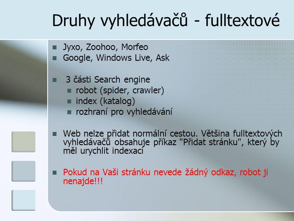 Druhy vyhledávačů - fulltextové Jyxo, Zoohoo, Morfeo Google, Windows Live, Ask 3 části Search engine robot (spider, crawler) index (katalog) rozhraní pro vyhledávání Web nelze přidat normální cestou.