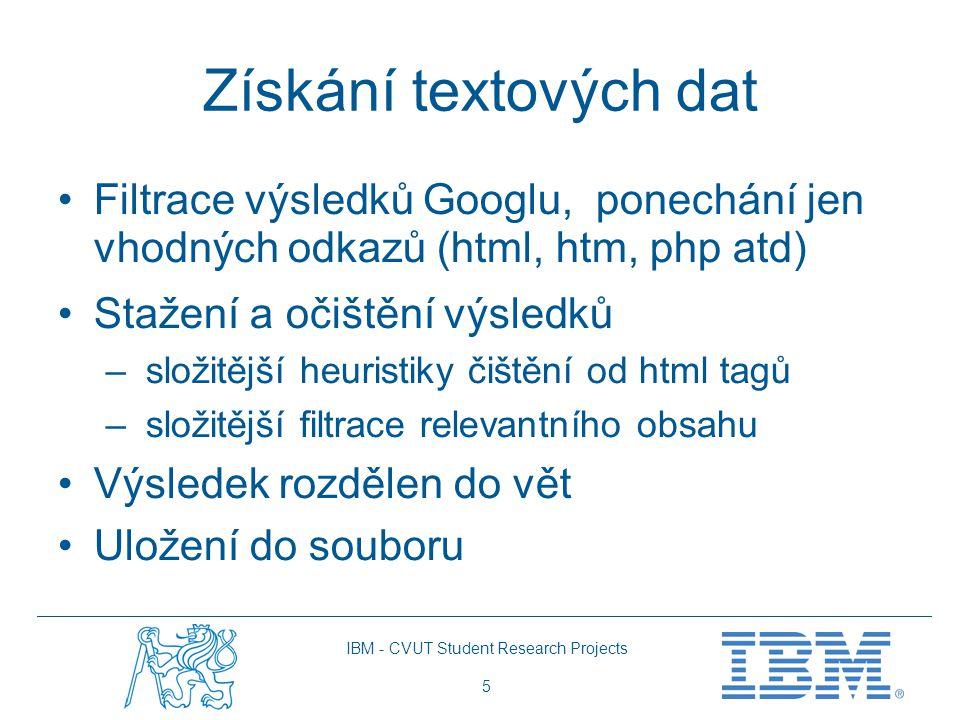 IBM - CVUT Student Research Projects 5 Získání textových dat Filtrace výsledků Googlu, ponechání jen vhodných odkazů (html, htm, php atd) Stažení a očištění výsledků – složitější heuristiky čištění od html tagů – složitější filtrace relevantního obsahu Výsledek rozdělen do vět Uložení do souboru