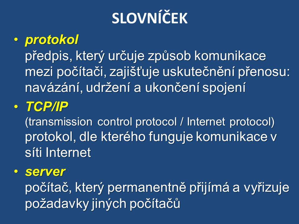 SLOVNÍČEK protokol předpis, který určuje způsob komunikace mezi počítači, zajišťuje uskutečnění přenosu: navázání, udržení a ukončení spojeníprotokol
