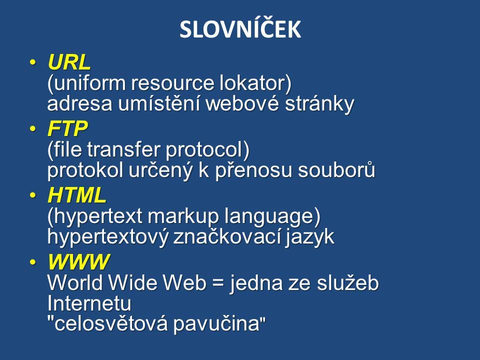 SLOVNÍČEK URL (uniform resource lokator) adresa umístění webové stránkyURL (uniform resource lokator) adresa umístění webové stránky FTP (file transfe