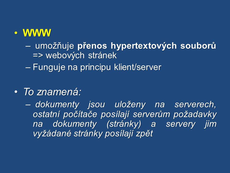 WWWWWW – umožňuje přenos hypertextových souborů => webových stránek –Funguje na principu klient/server To znamená:To znamená: – dokumenty jsou uloženy