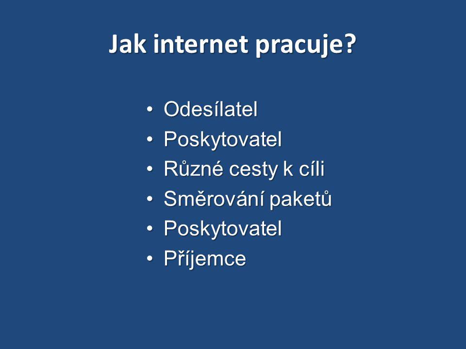 Jak internet pracuje? OdesílatelOdesílatel PoskytovatelPoskytovatel Různé cesty k cíliRůzné cesty k cíli Směrování paketůSměrování paketů Poskytovatel