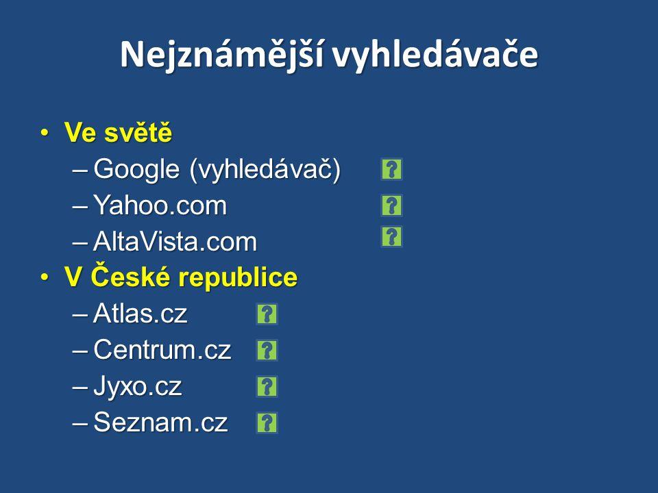 Nejznámější vyhledávače Ve světěVe světě –Google (vyhledávač) –Yahoo.com –AltaVista.com V České republiceV České republice –Atlas.cz –Centrum.cz –Jyxo