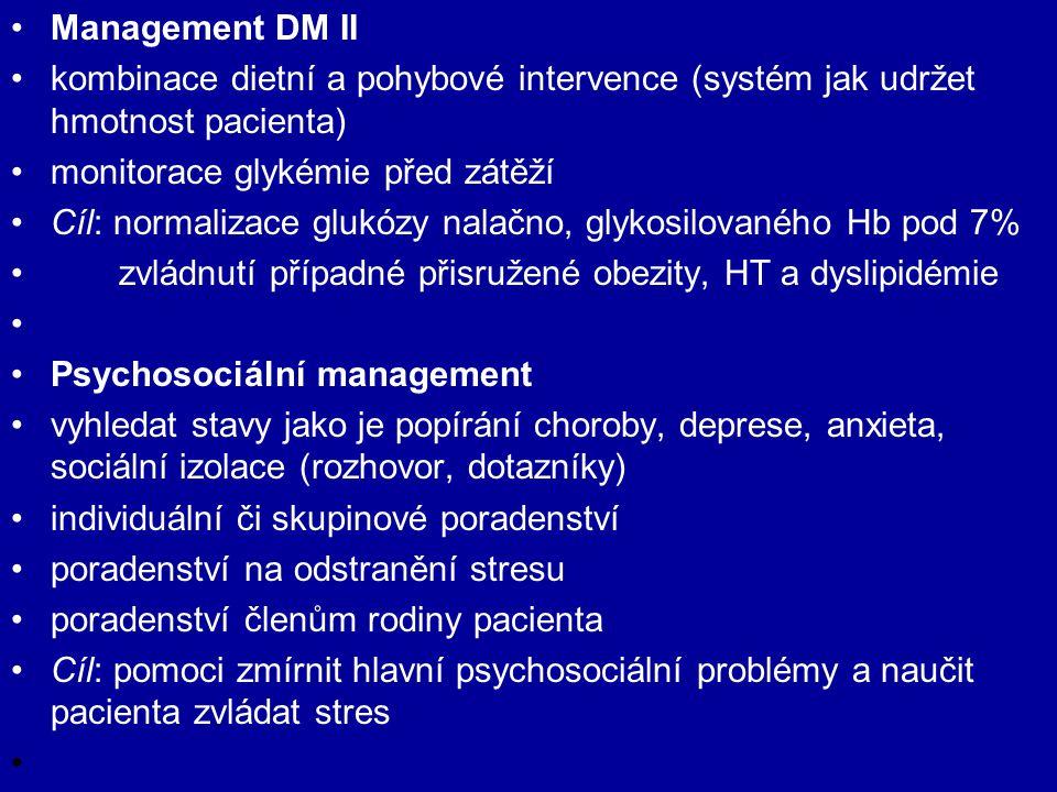 Management DM II kombinace dietní a pohybové intervence (systém jak udržet hmotnost pacienta) monitorace glykémie před zátěží Cíl: normalizace glukózy