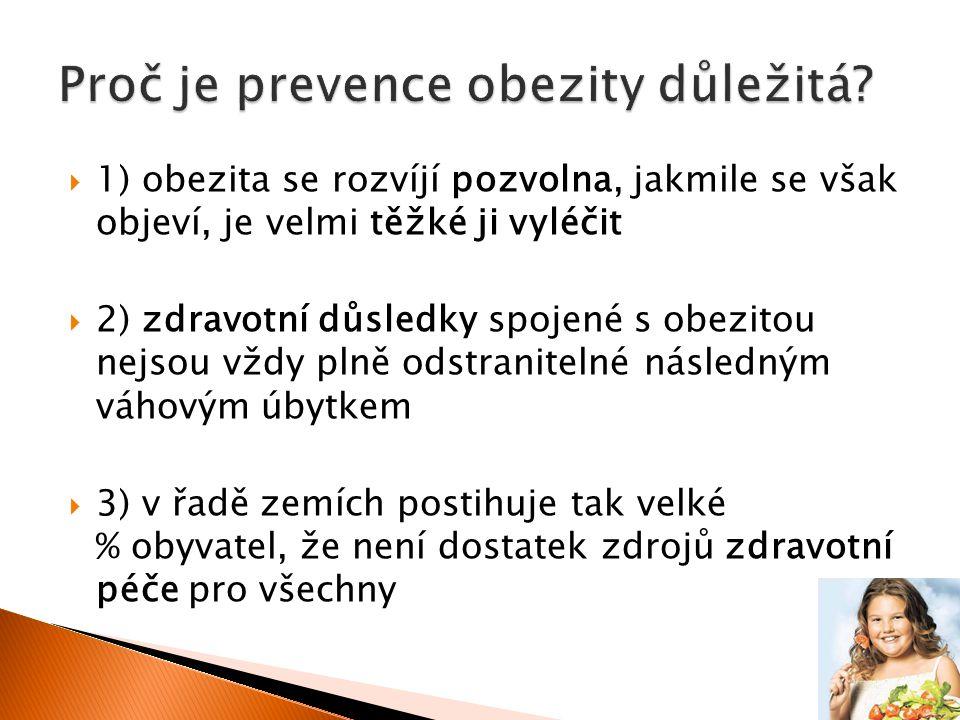  1) obezita se rozvíjí pozvolna, jakmile se však objeví, je velmi těžké ji vyléčit  2) zdravotní důsledky spojené s obezitou nejsou vždy plně odstranitelné následným váhovým úbytkem  3) v řadě zemích postihuje tak velké % obyvatel, že není dostatek zdrojů zdravotní péče pro všechny