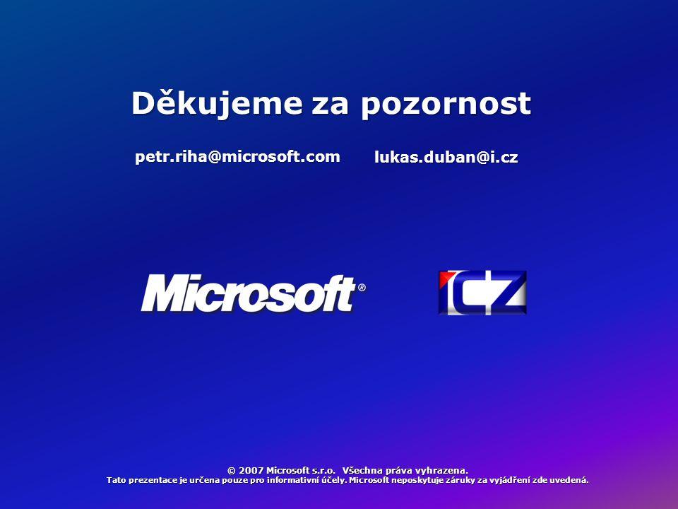 © 2007 Microsoft s.r.o. Všechna práva vyhrazena. Tato prezentace je určena pouze pro informativní účely. Microsoft neposkytuje záruky za vyjádření zde