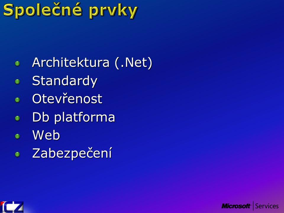Architektura (.Net) StandardyOtevřenost Db platforma WebZabezpečení