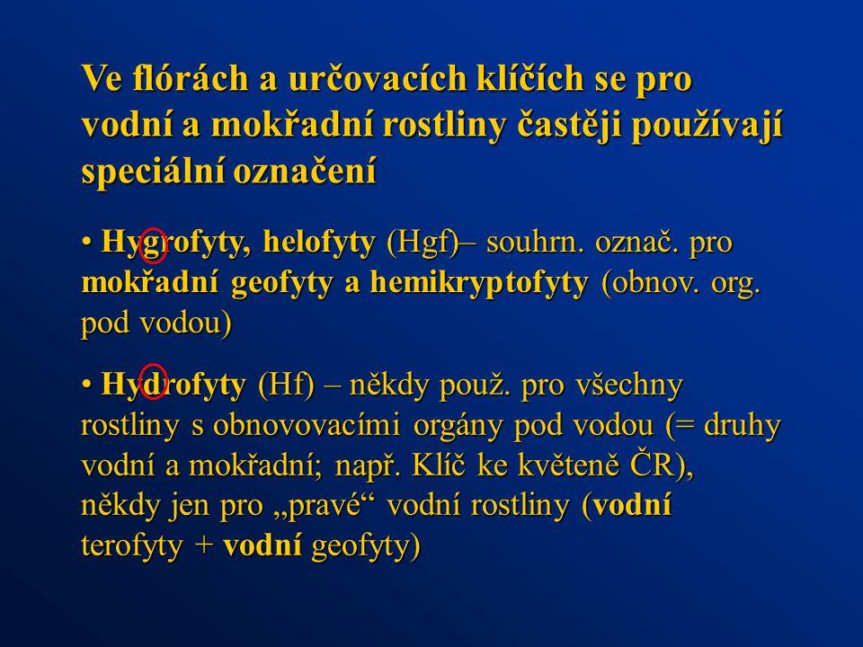Hygrofyty, helofyty (Hgf)– souhrn.označ. pro mokřadní geofyty a hemikryptofyty (obnov.