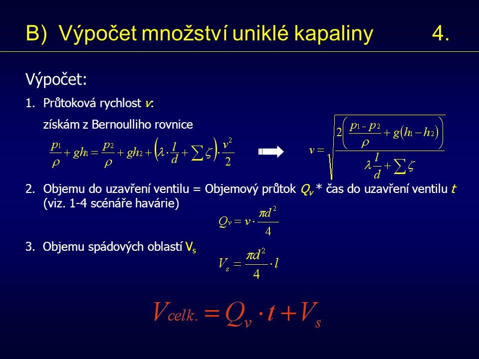 Výpočet: 1.Průtoková rychlost v: získám z Bernoulliho rovnice 2.Objemu do uzavření ventilu = Objemový průtok Q v * čas do uzavření ventilu t (viz.