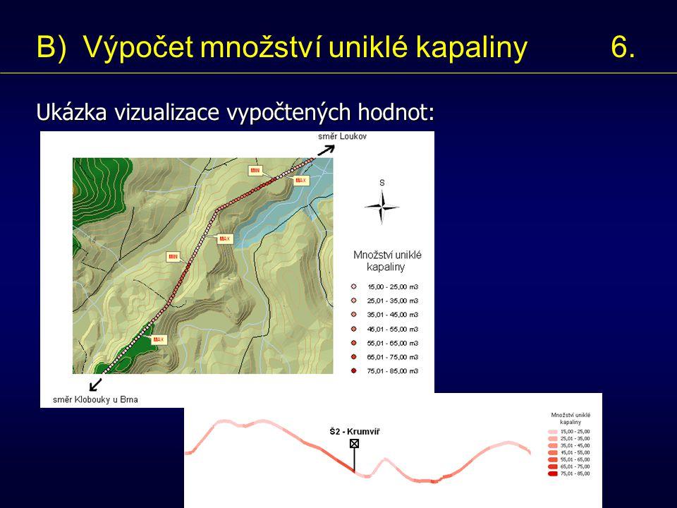 Ukázka vizualizace vypočtených hodnot: B) Výpočet množství uniklé kapaliny 6.