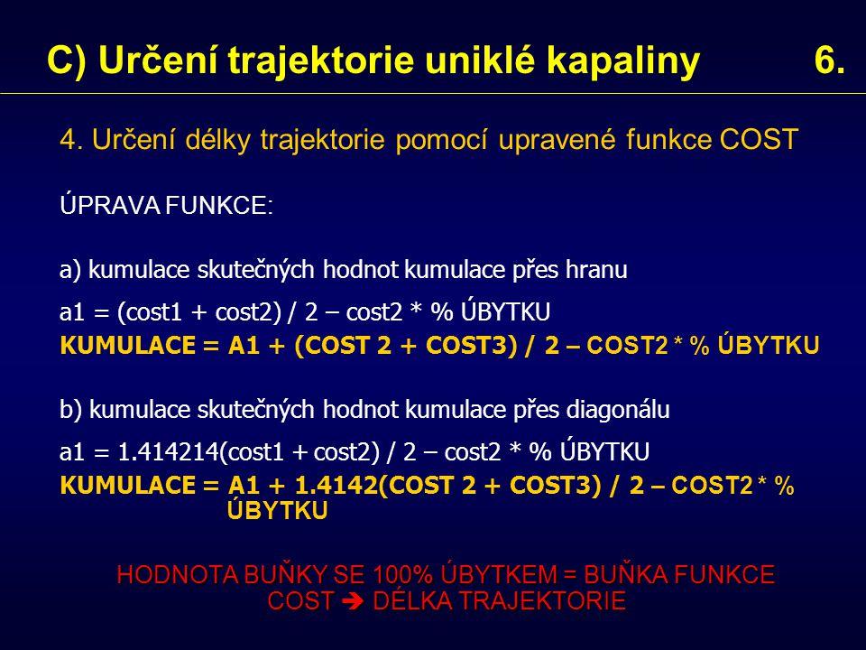 4. Určení délky trajektorie pomocí upravené funkce COST ÚPRAVA FUNKCE: a) kumulace skutečných hodnot kumulace přes hranu a1 = (cost1 + cost2) / 2 – co