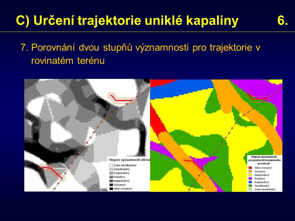 7. Porovnání dvou stupňů významnosti pro trajektorie v rovinatém terénu C) Určení trajektorie uniklé kapaliny 6.
