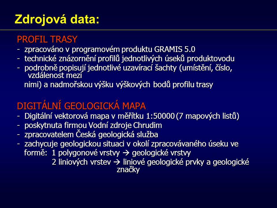 PROFIL TRASY - zpracováno v programovém produktu GRAMIS 5.0 - technické znázornění profilů jednotlivých úseků produktovodu - podrobně popisují jednotlivé uzavírací šachty (umístění, číslo, vzdálenost mezi nimi) a nadmořskou výšku výškových bodů profilu trasy nimi) a nadmořskou výšku výškových bodů profilu trasy DIGITÁLNÍ GEOLOGICKÁ MAPA - Digitální vektorová mapa v měřítku 1:50000 (7 mapových listů) - poskytnuta firmou Vodní zdroje Chrudim - zpracovatelem Česká geologická služba - zachycuje geologickou situaci v okolí zpracovávaného úseku ve formě: 1 polygonové vrstvy  geologické vrstvy formě: 1 polygonové vrstvy  geologické vrstvy 2 liniových vrstev  liniové geologické prvky a geologické značky 2 liniových vrstev  liniové geologické prvky a geologické značky Zdrojová data: