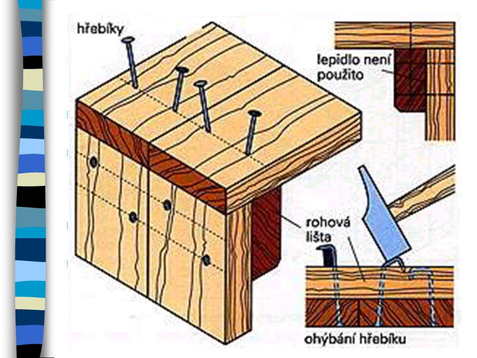 Spojení rohů desek Při výrobě částí nábytku, skříněk a beden je třeba široké plochy na jejich koncích vzájemně spojit. Plochy mohou být vyrobeny z mas