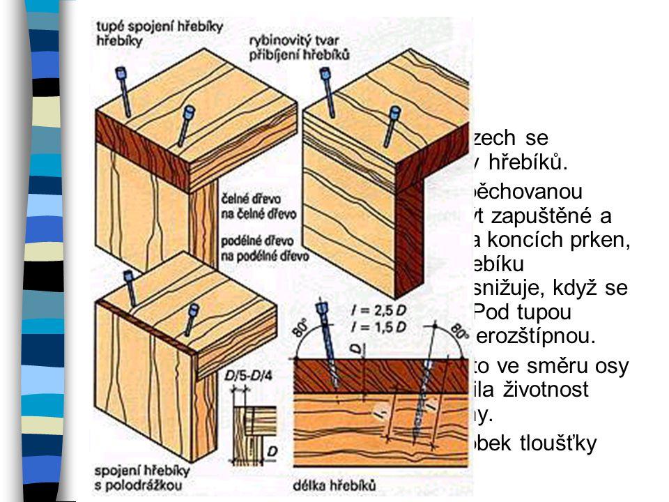 Spoje sbíjené hřebíky Sbíjení hřebíky se provádí při jednoduchém spojování. Hřebíky nedrží v čelném dřevě stejně dobře jako v podélném dřevě. Proto se