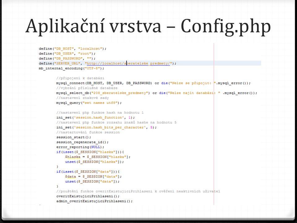 Aplikační vrstva – Config.php
