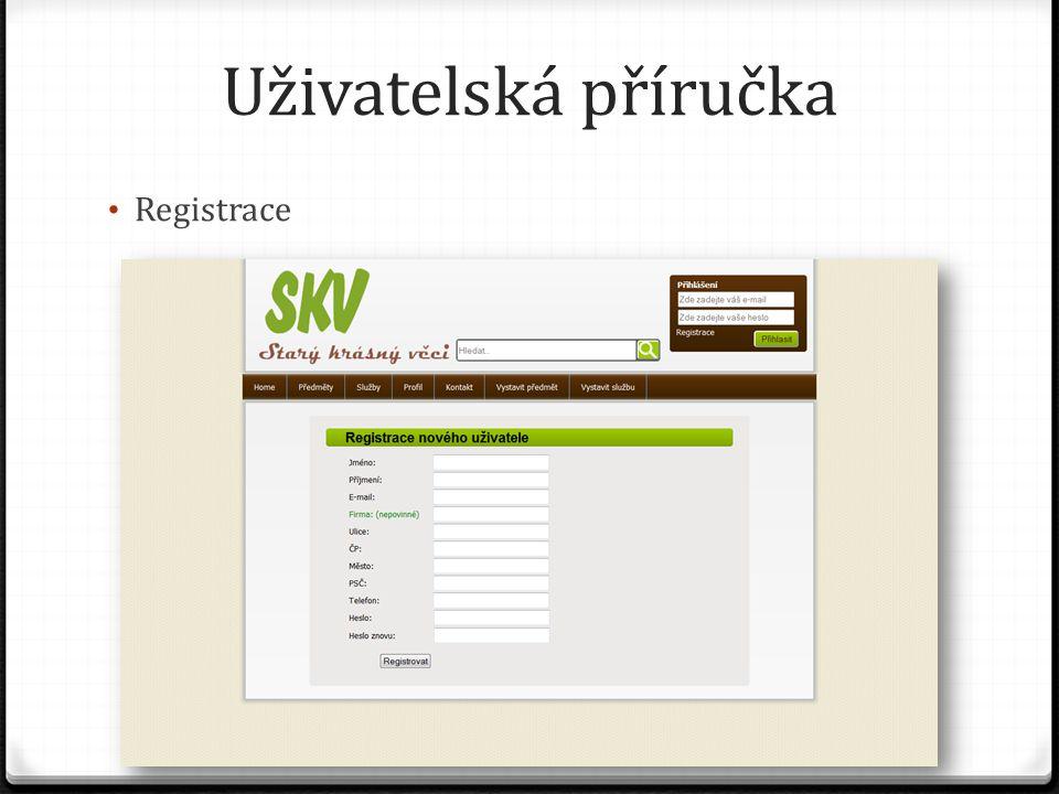 Uživatelská příručka Registrace
