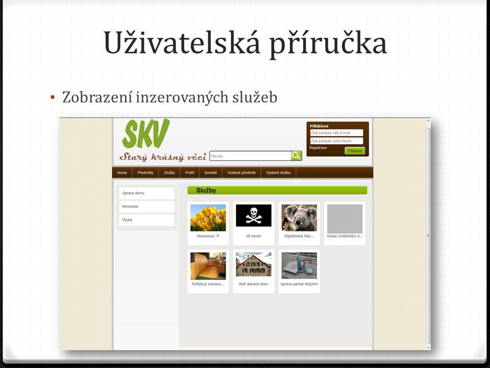 Uživatelská příručka Zobrazení inzerovaných služeb