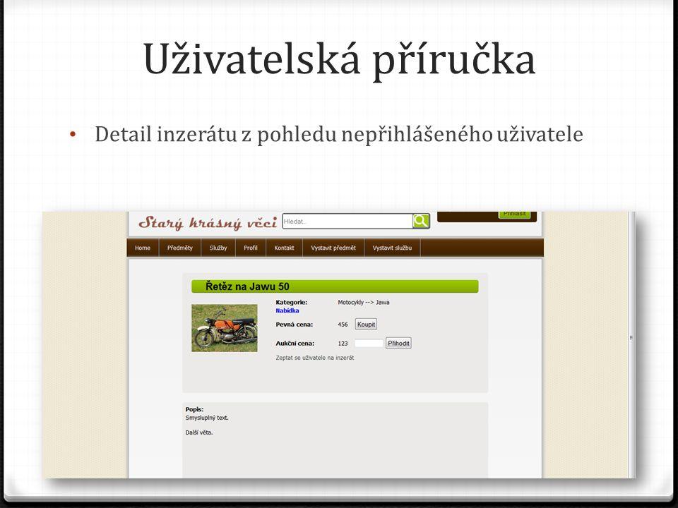 Uživatelská příručka Detail inzerátu z pohledu nepřihlášeného uživatele