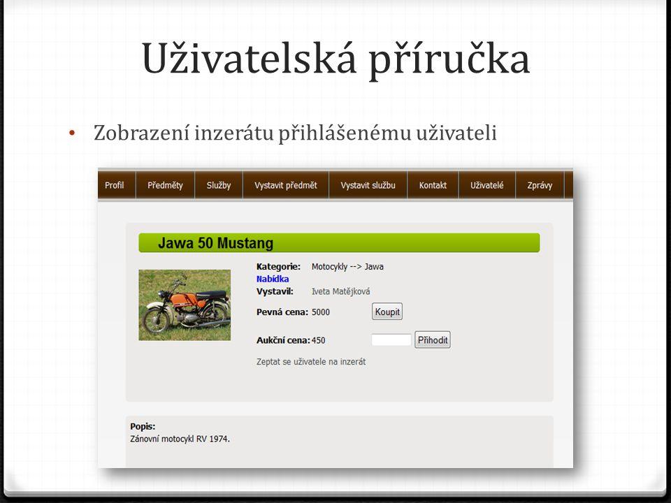 Uživatelská příručka Zobrazení inzerátu přihlášenému uživateli