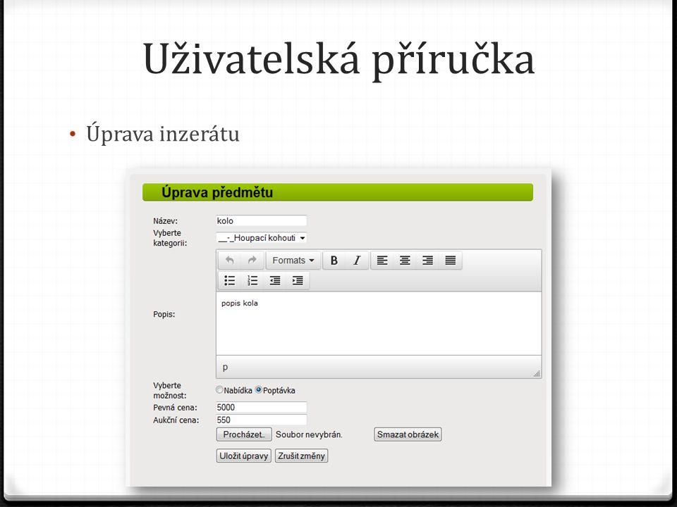 Uživatelská příručka Úprava inzerátu