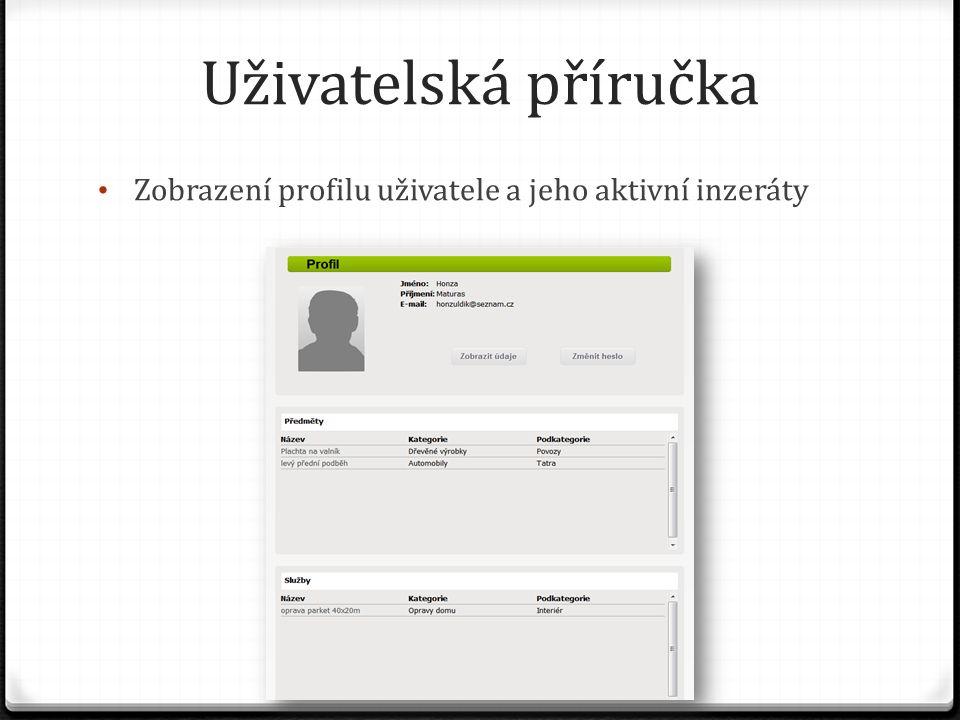 Uživatelská příručka Zobrazení profilu uživatele a jeho aktivní inzeráty