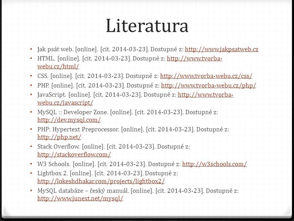 Literatura Jak psát web. [online]. [cit. 2014-03-23].