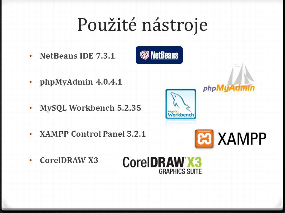 Použité nástroje NetBeans IDE 7.3.1 phpMyAdmin 4.0.4.1 MySQL Workbench 5.2.35 XAMPP Control Panel 3.2.1 CorelDRAW X3