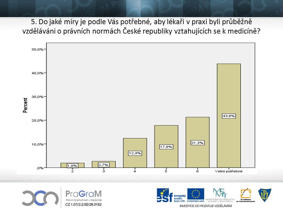 5. Do jaké míry je podle Vás potřebné, aby lékaři v praxi byli průběžně vzděláváni o právních normách České republiky vztahujících se k medicíně?
