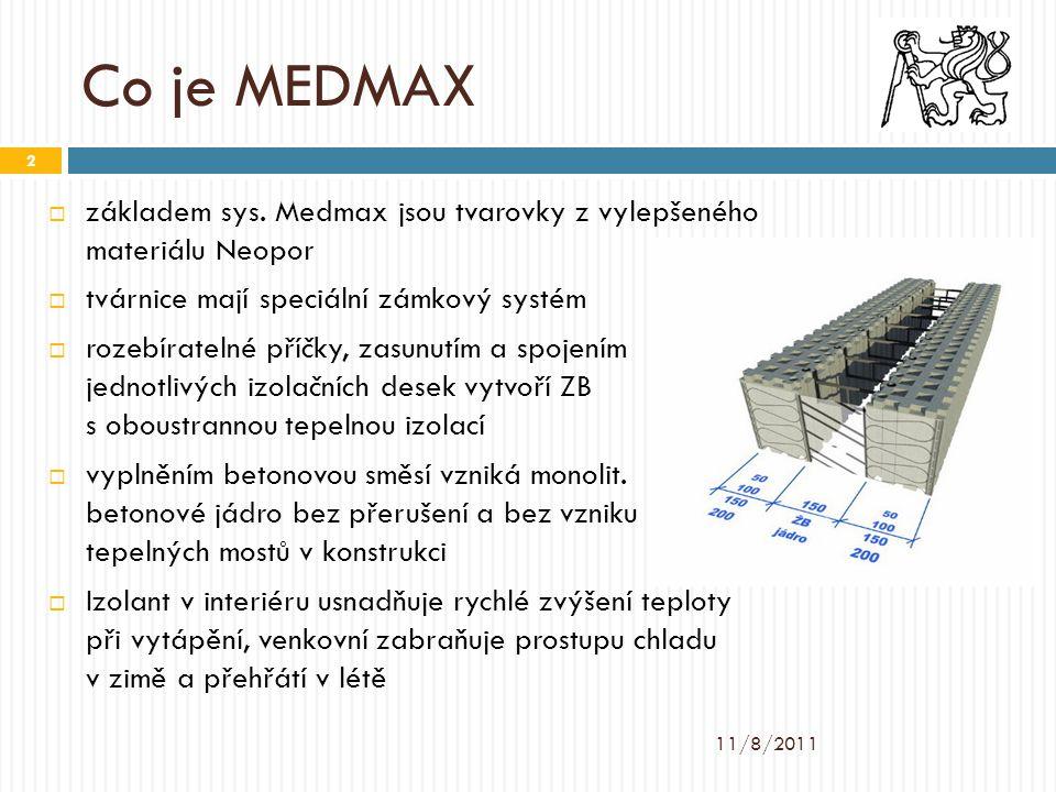 Co je MEDMAX  základem sys. Medmax jsou tvarovky z vylepšeného materiálu Neopor  tvárnice mají speciální zámkový systém  rozebíratelné příčky, zasu