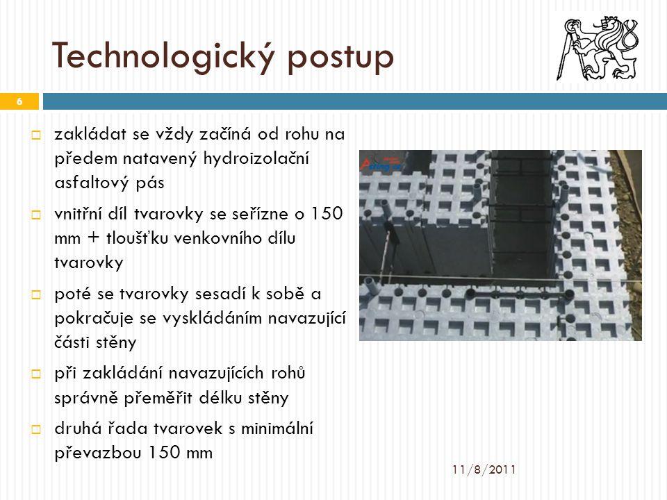 Technologický postup  zakládat se vždy začíná od rohu na předem natavený hydroizolační asfaltový pás  vnitřní díl tvarovky se seřízne o 150 mm + tlo