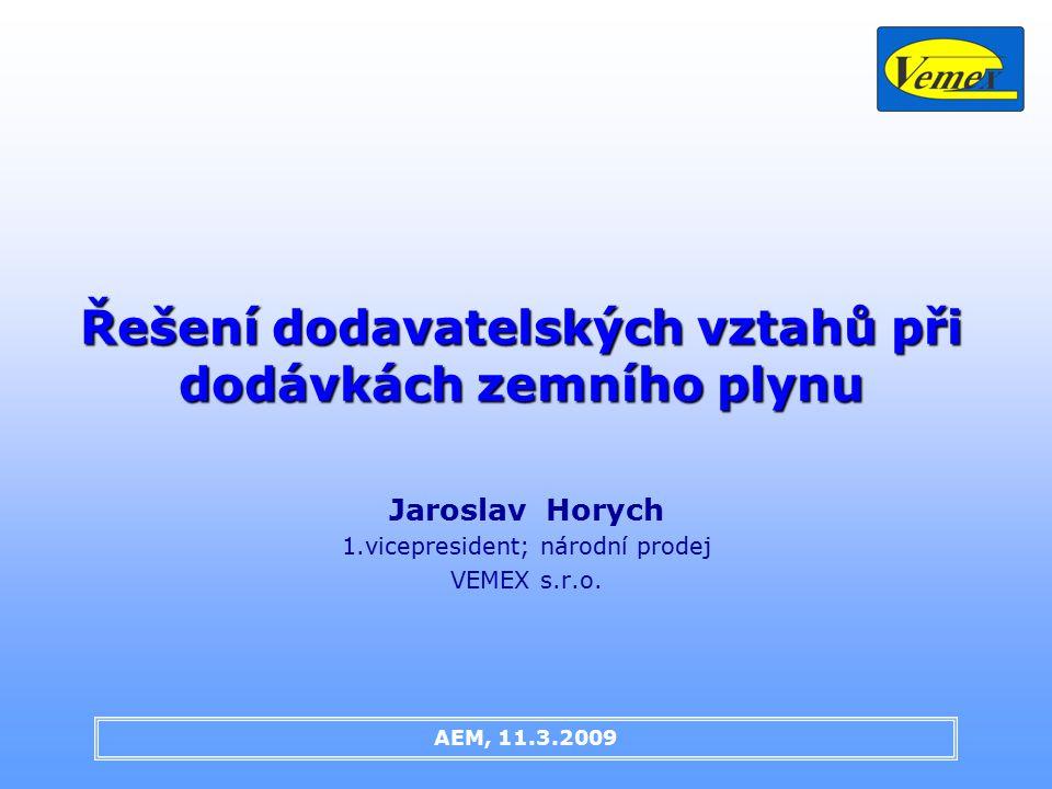 Řešení dodavatelských vztahů při dodávkách zemního plynu Jaroslav Horych 1.vicepresident; národní prodej VEMEX s.r.o.