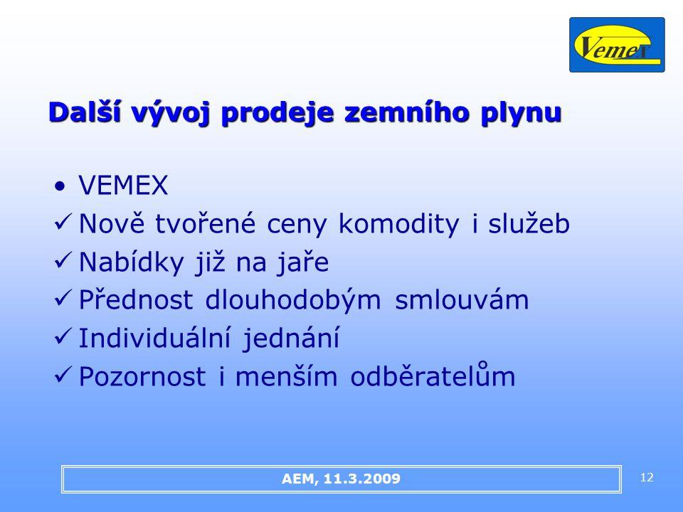 12 Další vývoj prodeje zemního plynu AEM, 11.3.2009 VEMEX Nově tvořené ceny komodity i služeb Nabídky již na jaře Přednost dlouhodobým smlouvám Individuální jednání Pozornost i menším odběratelům