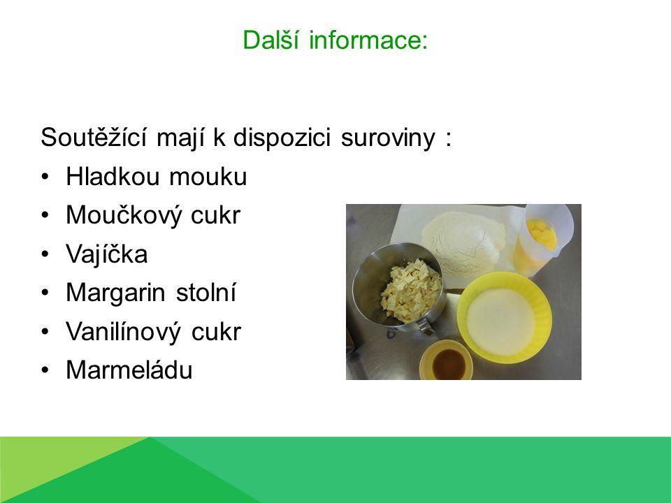 Další informace: Soutěžící mají k dispozici suroviny : Hladkou mouku Moučkový cukr Vajíčka Margarin stolní Vanilínový cukr Marmeládu