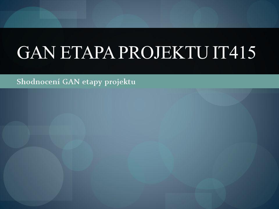 Shodnocení GAN etapy projektu GAN ETAPA PROJEKTU IT415