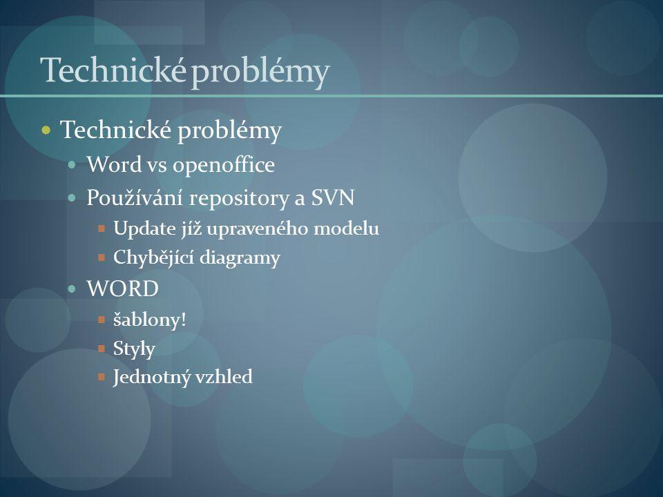 Technické problémy Word vs openoffice Používání repository a SVN  Update jíž upraveného modelu  Chybějící diagramy WORD  šablony.