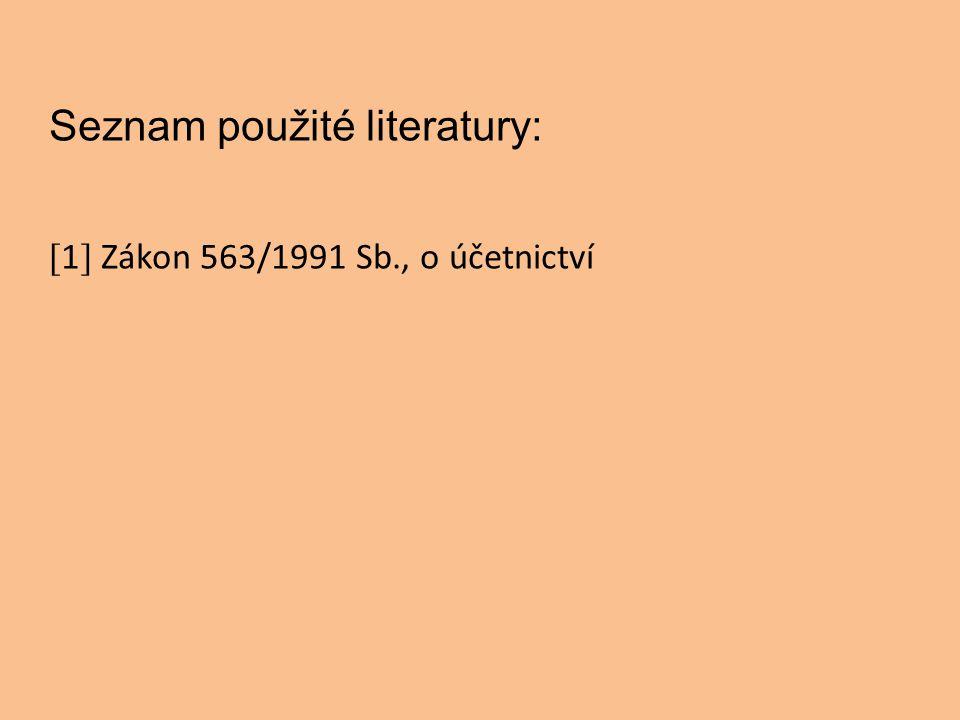 Seznam použité literatury: [ 1 ] Zákon 563/1991 Sb., o účetnictví