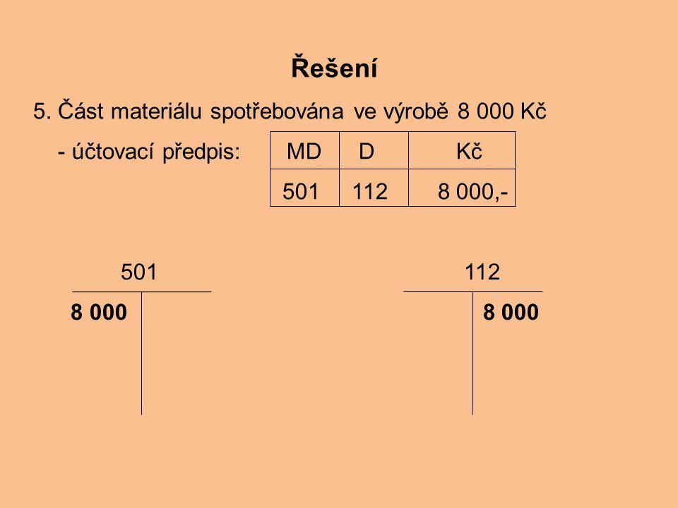 Řešení 5. Část materiálu spotřebována ve výrobě 8 000 Kč - účtovací předpis: MD D Kč 501 112 8 000,- 501 112 8 000 8 000