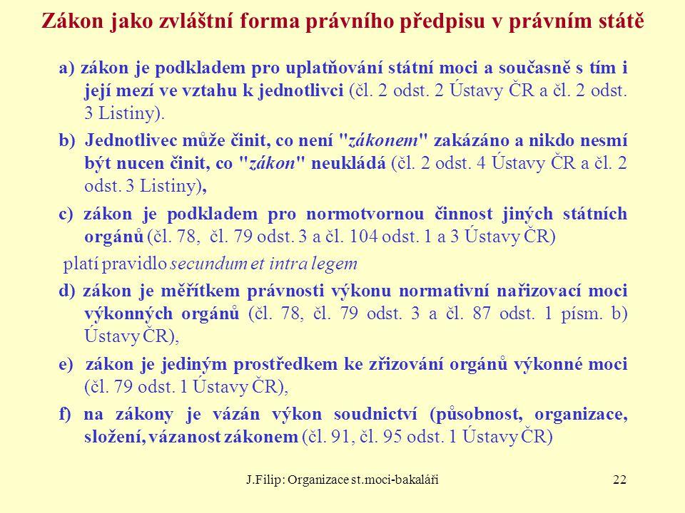 J.Filip: Organizace st.moci-bakaláři22 Zákon jako zvláštní forma právního předpisu v právním státě a) zákon je podkladem pro uplatňování státní moci a