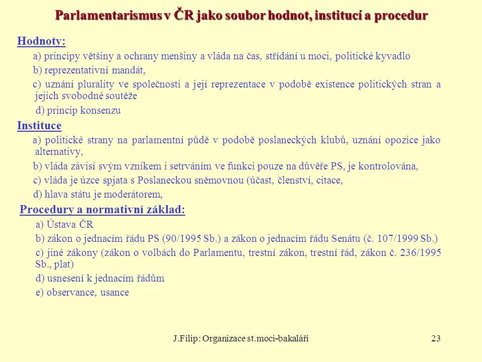 J.Filip: Organizace st.moci-bakaláři23 Parlamentarismus v ČR jako soubor hodnot, institucí a procedur Hodnoty: a) principy většiny a ochrany menšiny a
