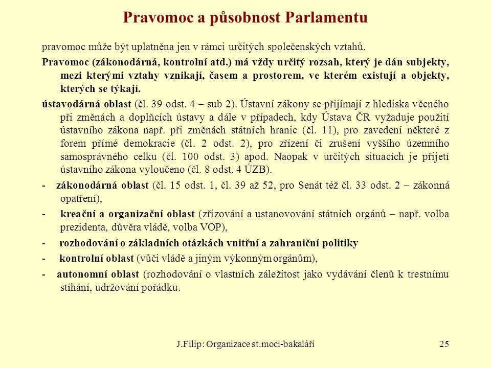 J.Filip: Organizace st.moci-bakaláři25 Pravomoc a působnost Parlamentu pravomoc může být uplatněna jen v rámci určitých společenských vztahů. Pravomoc