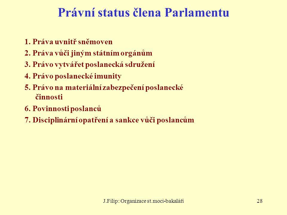 J.Filip: Organizace st.moci-bakaláři28 Právní status člena Parlamentu 1. Práva uvnitř sněmoven 2. Práva vůči jiným státním orgánům 3. Právo vytvářet p