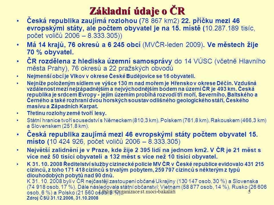 J.Filip: Organizace st.moci-bakaláři5 Základní údaje o ČR Česká republika zaujímá rozlohou (78 867 km2) 22. příčku mezi 46 evropskými státy, ale počte