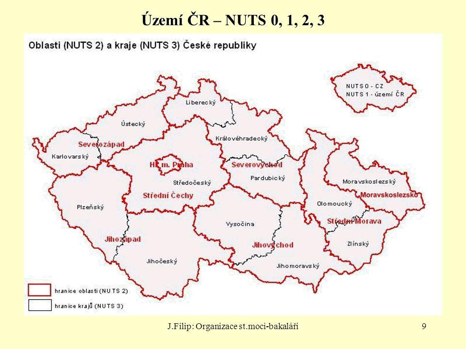 J.Filip: Organizace st.moci-bakaláři9 Území ČR – NUTS 0, 1, 2, 3