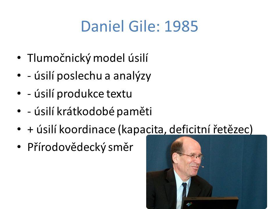 Daniel Gile: 1985 Tlumočnický model úsilí - úsilí poslechu a analýzy - úsilí produkce textu - úsilí krátkodobé paměti + úsilí koordinace (kapacita, de