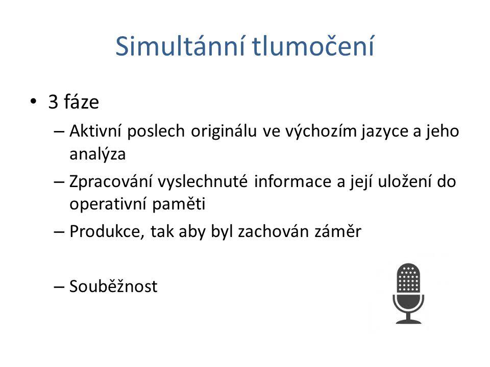 Simultánní tlumočení (komunikace) 1.fáze: Sdělení ve výchozím jazyce Dekódování 2.fáze: Obsah/ zpracování přijaté informace Kódování 3.fáze: Sdělení v cílovém jazyce