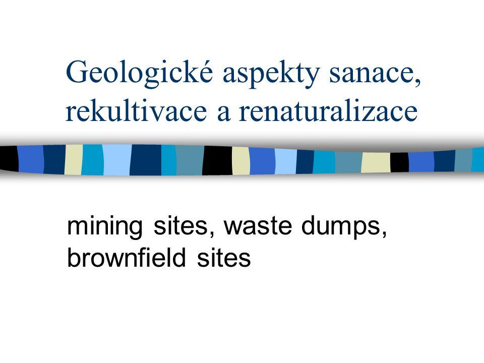 Geologické aspekty sanace, rekultivace a renaturalizace mining sites, waste dumps, brownfield sites