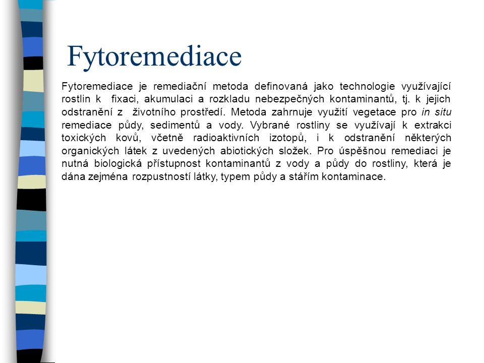 Fytoremediace Fytoremediace je remediační metoda definovaná jako technologie využívající rostlin k fixaci, akumulaci a rozkladu nebezpečných kontaminantů, tj.