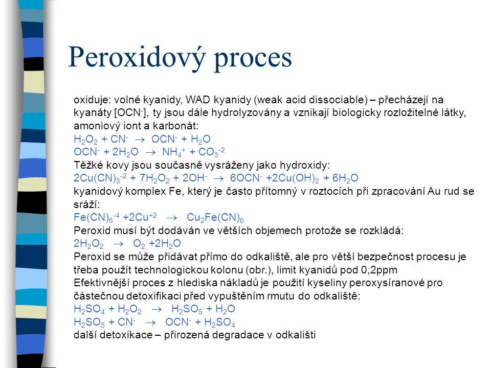 Peroxidový proces oxiduje: volné kyanidy, WAD kyanidy (weak acid dissociable) – přecházejí na kyanáty [OCN - ], ty jsou dále hydrolyzovány a vznikají biologicky rozložitelné látky, amoniový iont a karbonát: H 2 O 2 + CN -  OCN - + H 2 O OCN - + 2H 2 O  NH 4 + + CO 3 -2 Těžké kovy jsou současně vysráženy jako hydroxidy: 2Cu(CN) 3 -2 + 7H 2 O 2 + 2OH -  6OCN - +2Cu(OH) 2 + 6H 2 O kyanidový komplex Fe, který je často přítomný v roztocích při zpracování Au rud se sráží: Fe(CN) 6 -4 +2Cu +2  Cu 2 Fe(CN) 6 Peroxid musí být dodáván ve větších objemech protože se rozkládá: 2H 2 O 2  O 2 +2H 2 O Peroxid se může přidávat přímo do odkaliště, ale pro větší bezpečnost procesu je třeba použít technologickou kolonu (obr.), limit kyanidů pod 0,2ppm Efektivnější proces z hlediska nákladů je použití kyseliny peroxysíranové pro částečnou detoxifikaci před vypuštěním rmutu do odkaliště: H 2 SO 4 + H 2 O 2  H 2 SO 5 + H 2 O H 2 SO 5 + CN -  OCN - + H 2 SO 4 další detoxikace – přirozená degradace v odkališti